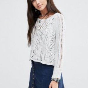 Free People Cross Cable Knit Open Back Sweater